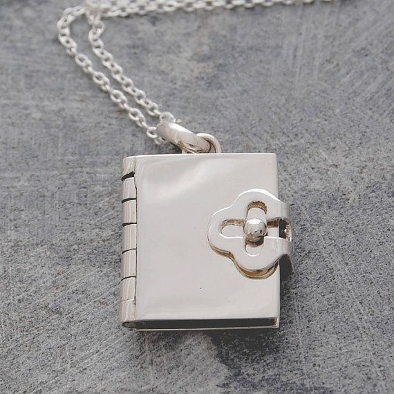 Silver Book Locket Pendant With Four Pages To Personalise Etsy Silver Locket Necklace Book Locket Silver Lockets