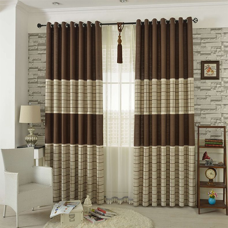 3 Piece Faux Cotton Espresso Brown Kitchen Window Curtain: Color Café Moderna De Rayas Cortina Escarpada
