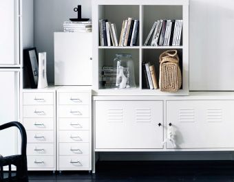 storage system built by mixing and matching shelf and