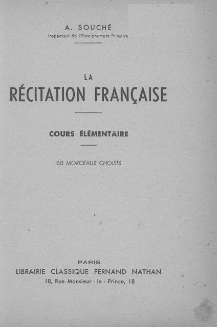 Manuels Anciens Souche La Recitation Francaise Au Cours Elementaire 1950 Manuel Scolaire Lecture Ce1 France