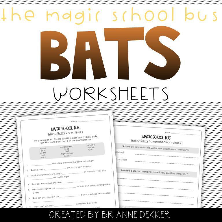 Magic School Bus Going Batty Bats Worksheets Magic School Bus