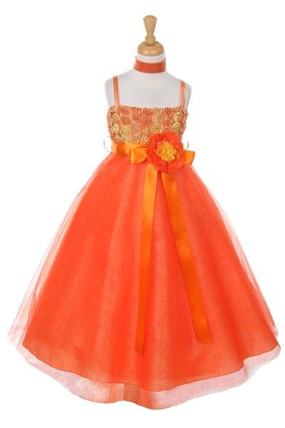 http://childrensdressshop.com/home/209-two-color-tulle-party-dress-in-orange-and-yellow.html?search_query=orange&results=35 Bright and fun. If you are looking for an orange,,,,,well guess  what?