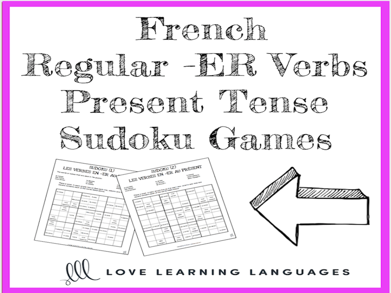 french regular er verbs present tense sudoku games
