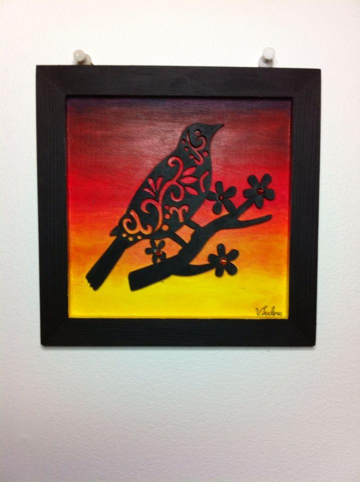 Oiseaux Noir X Peinture Acrylique Sur Bois Facebook Les Oeuvres