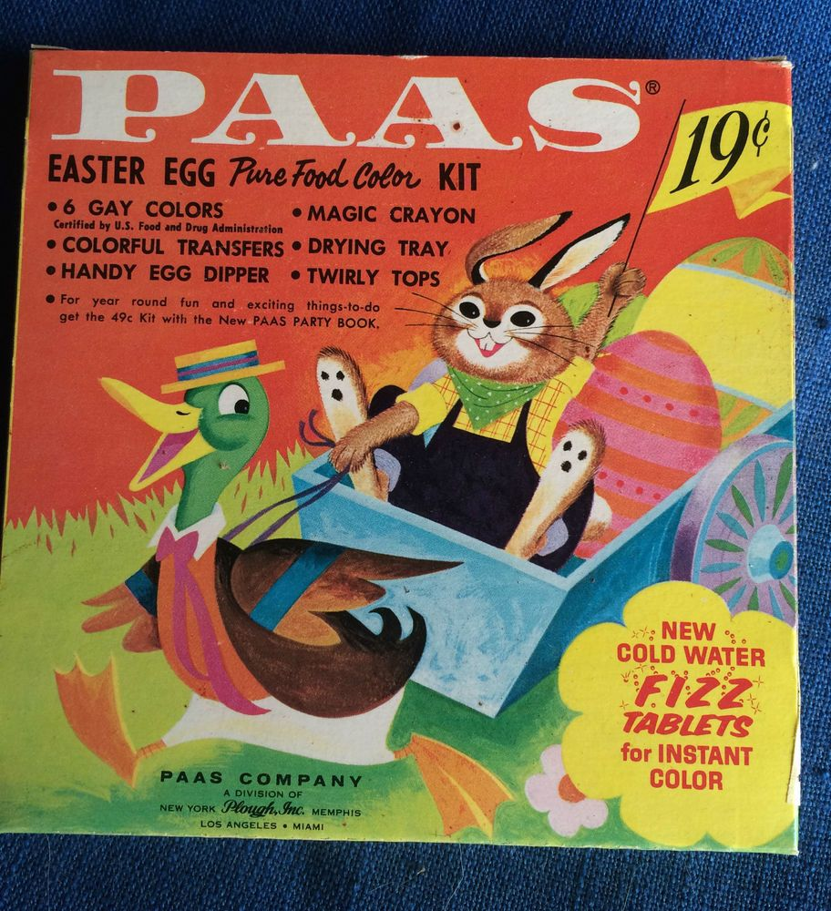 Vintage 1960s PAAS Easter Egg Coloring Dye Kit Unused
