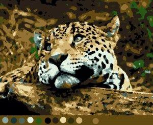 Леопард (12цв) Схемы по номерам для печати|Раскраски по ...