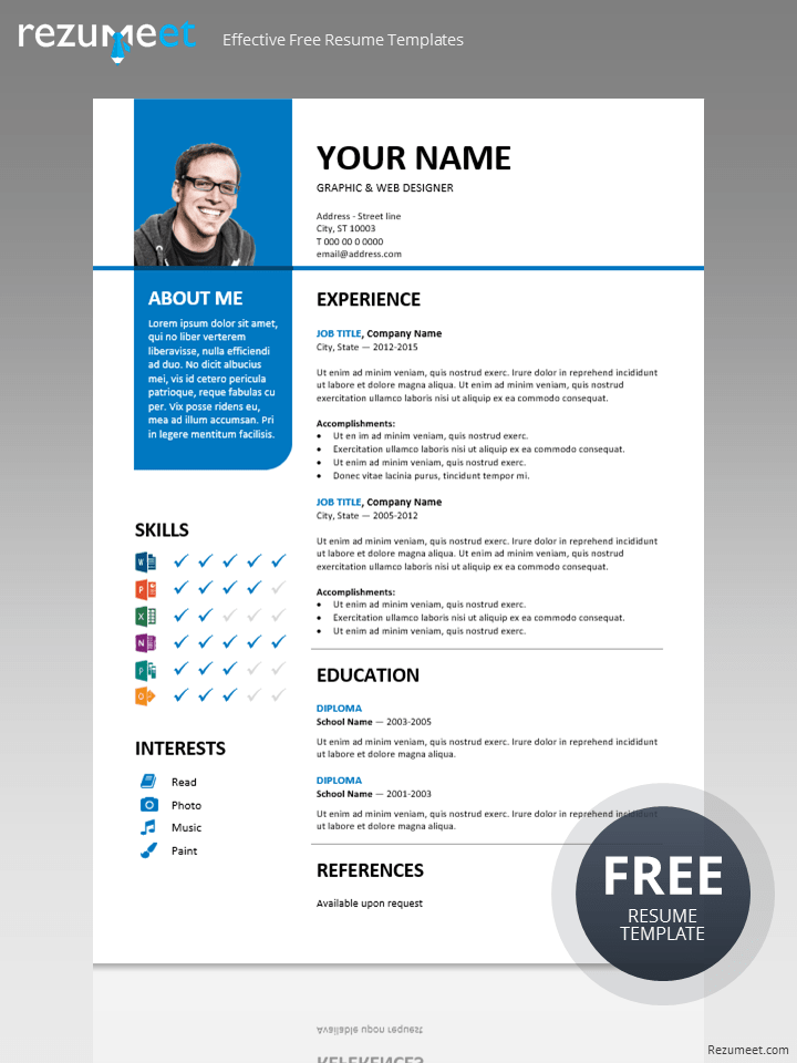 Stylish Free Resume Template Cv Template Free Cv Template Resume Template Examples