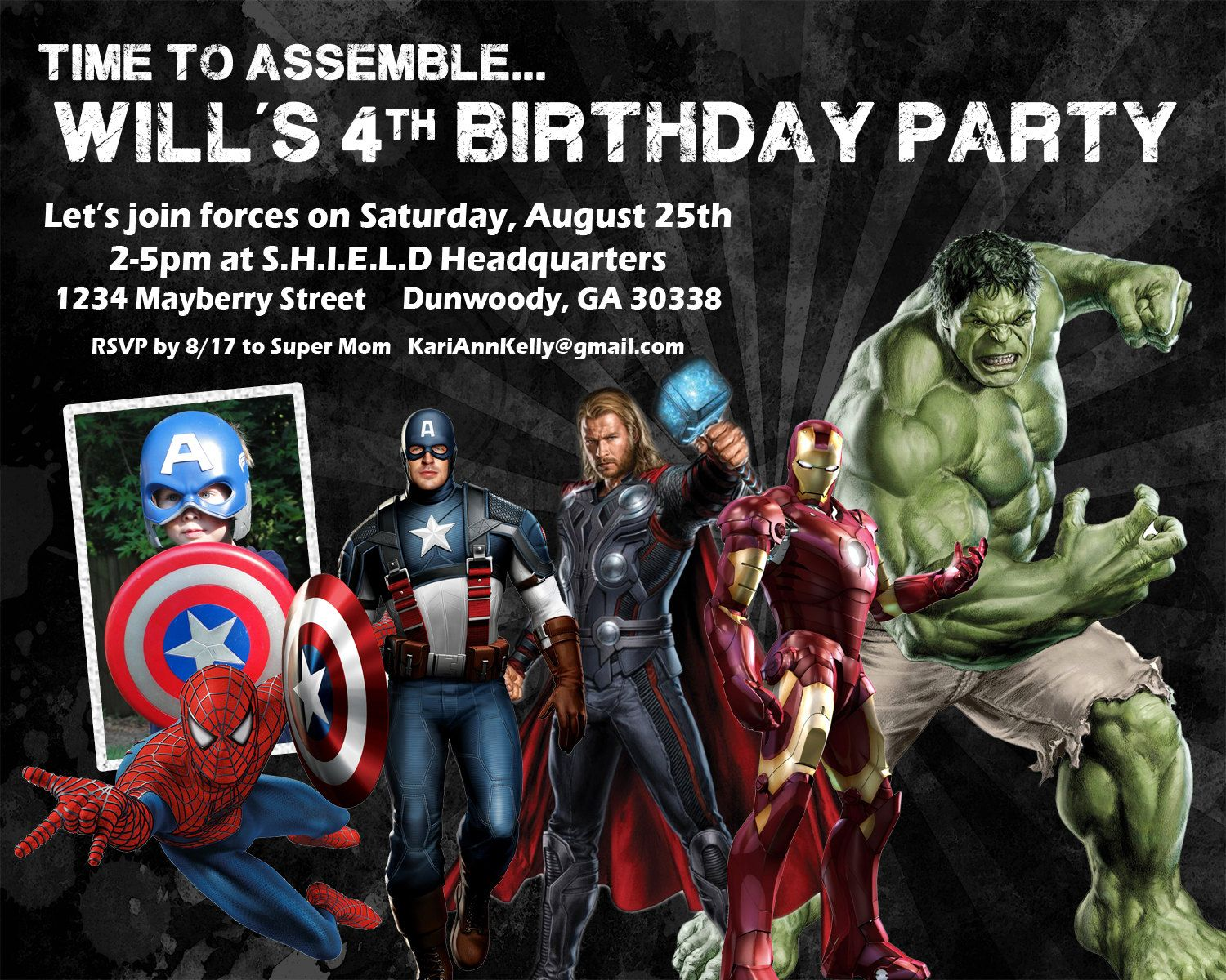 Marvel Superhero Birthday Invitation Design w/ Child\'s Photo ...