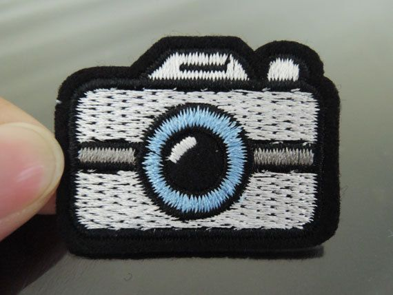 Iron on patch camera patch iron on applique embroidered patch