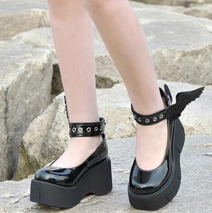 b8b315ae02bc Lolita Harajuku Japanese Winged Strap Platform Shoes SD00105 – SYNDROME - Cute  Kawaii Harajuku Street Fashion