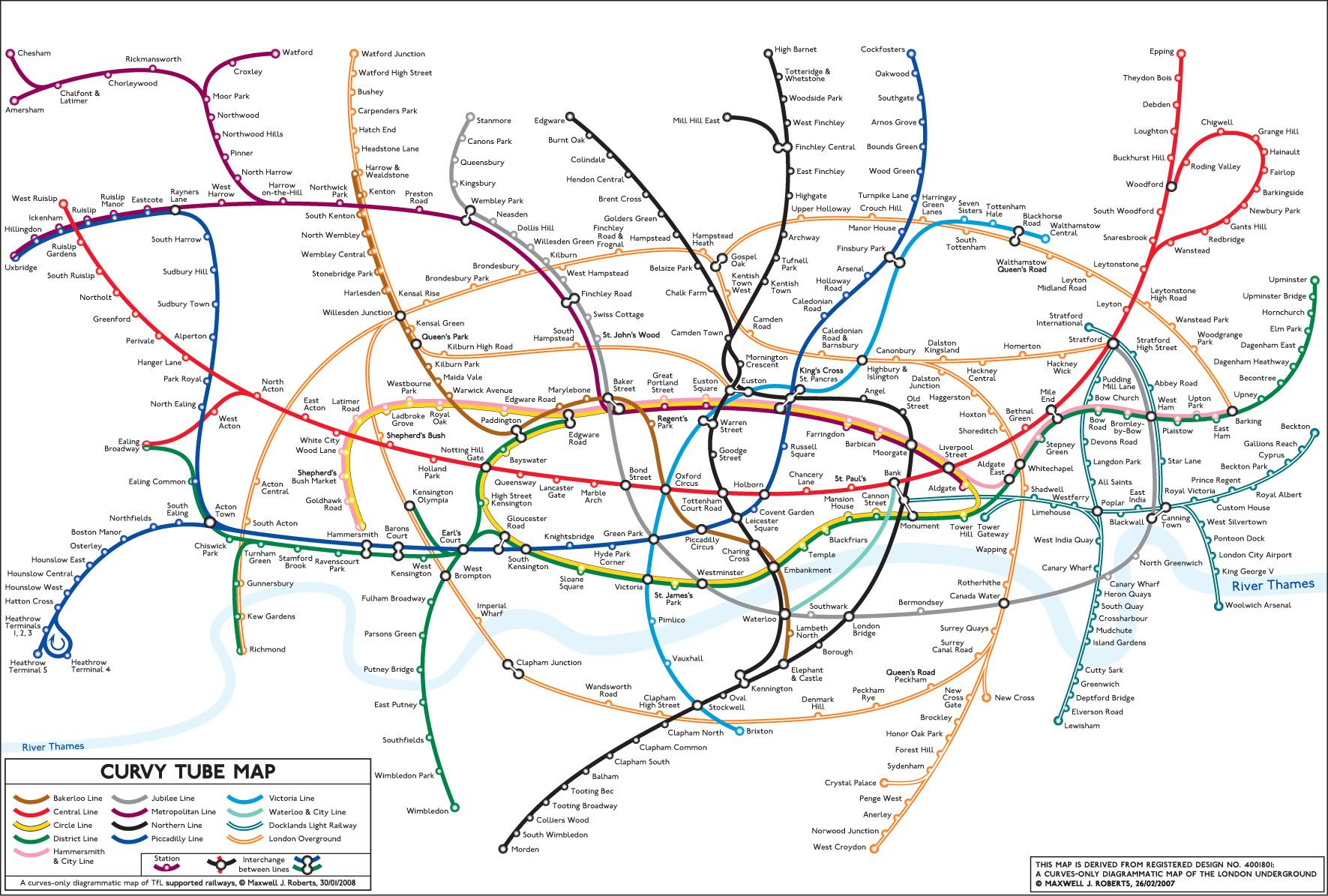 Curvy Tube Map A curvesonly diagrammatic map of TfL supported – Real London Underground Map