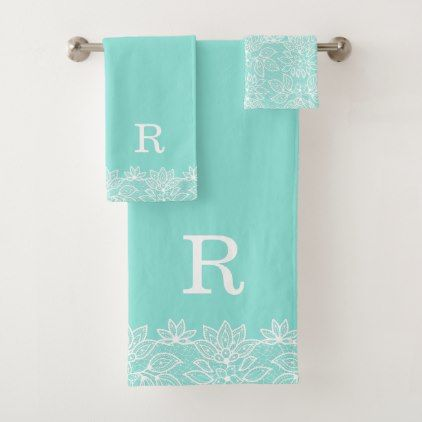 Robin Egg Blue And Lace Monogrammed Bath Towel Set Zazzle Com