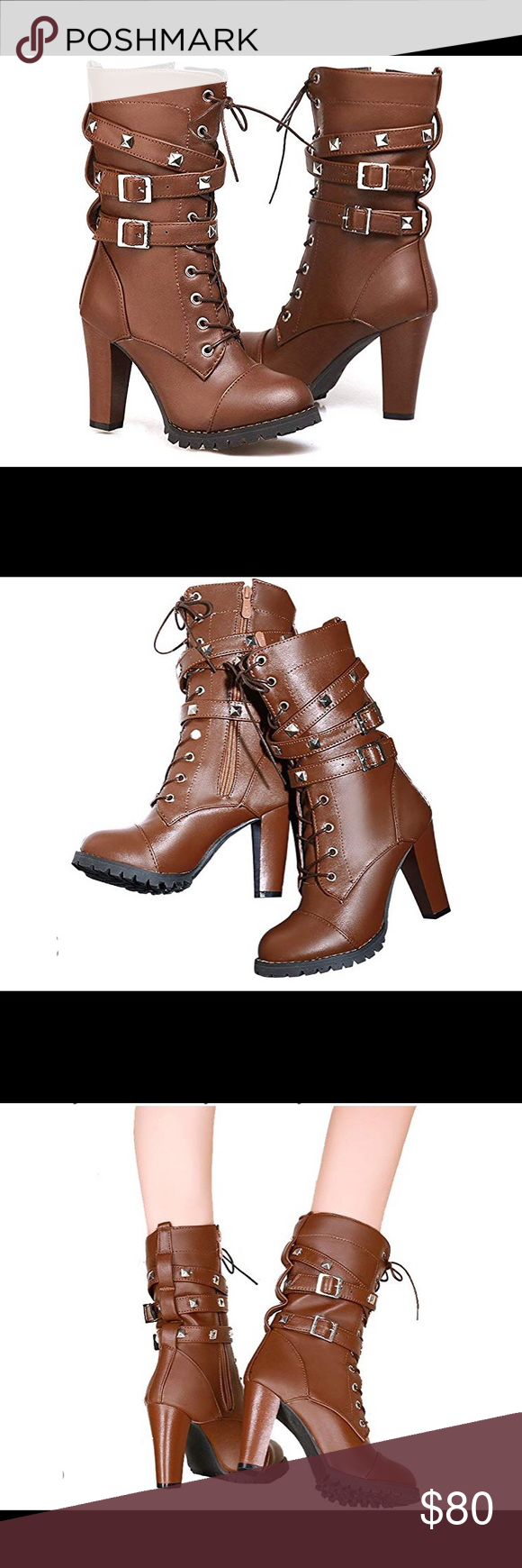 0831 Women's Mid Calf Leather Boots High Heel Lace Women's Mid Calf Leather Boots High Heel Lace Up Military Buckle Motorcycle Cowboy Ankle Booties About this item  leather-and-rubber Manmade Antiskid and Durable Soft Leather High Quality,Fashionable & Comfortable high heels / mid-calf / round-toe Heel Height:3.5