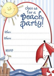 Free Printable Beach Party Invitations