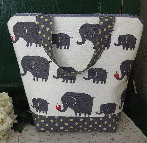 Extra Large Grey Elephants Insulated Lunch Bag By Needfulwishes 30 00