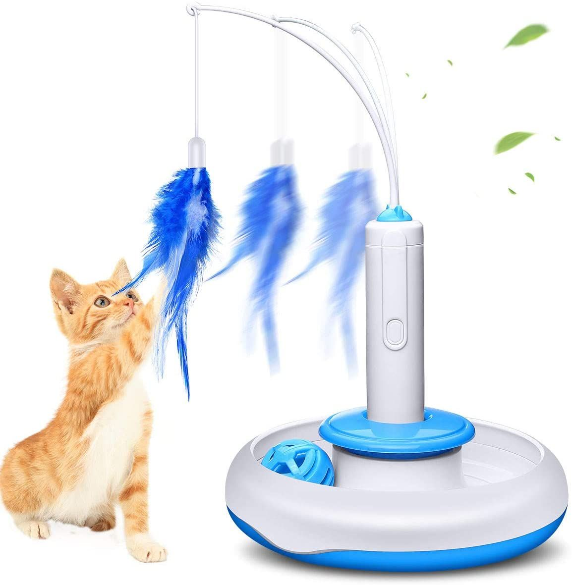 Isyoung Cat Teasing Toy Electric Mute Training Cat Toy Kitten Rotating Teaser Feather Fun Playing Interactive Smart Game Pet T In 2020 Pet Toys Cat Toys Pet Cat Toys