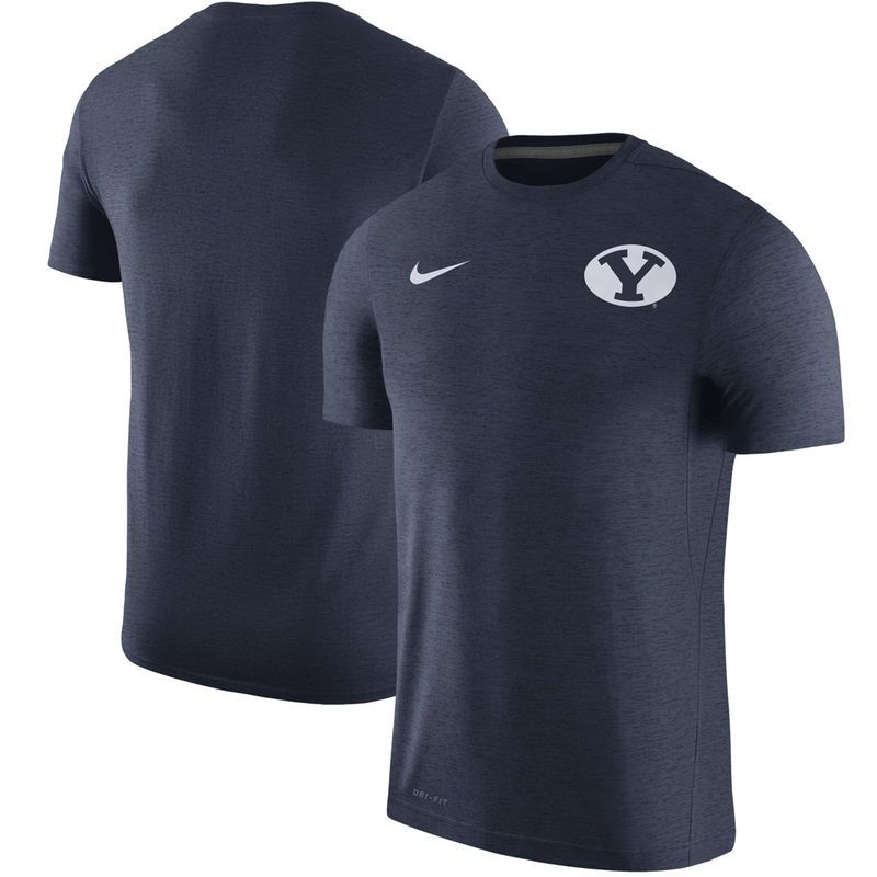 363f643bb BYU Cougars Nike 2017 Coaches Dri-FIT Touch Top - Heather Navy ...