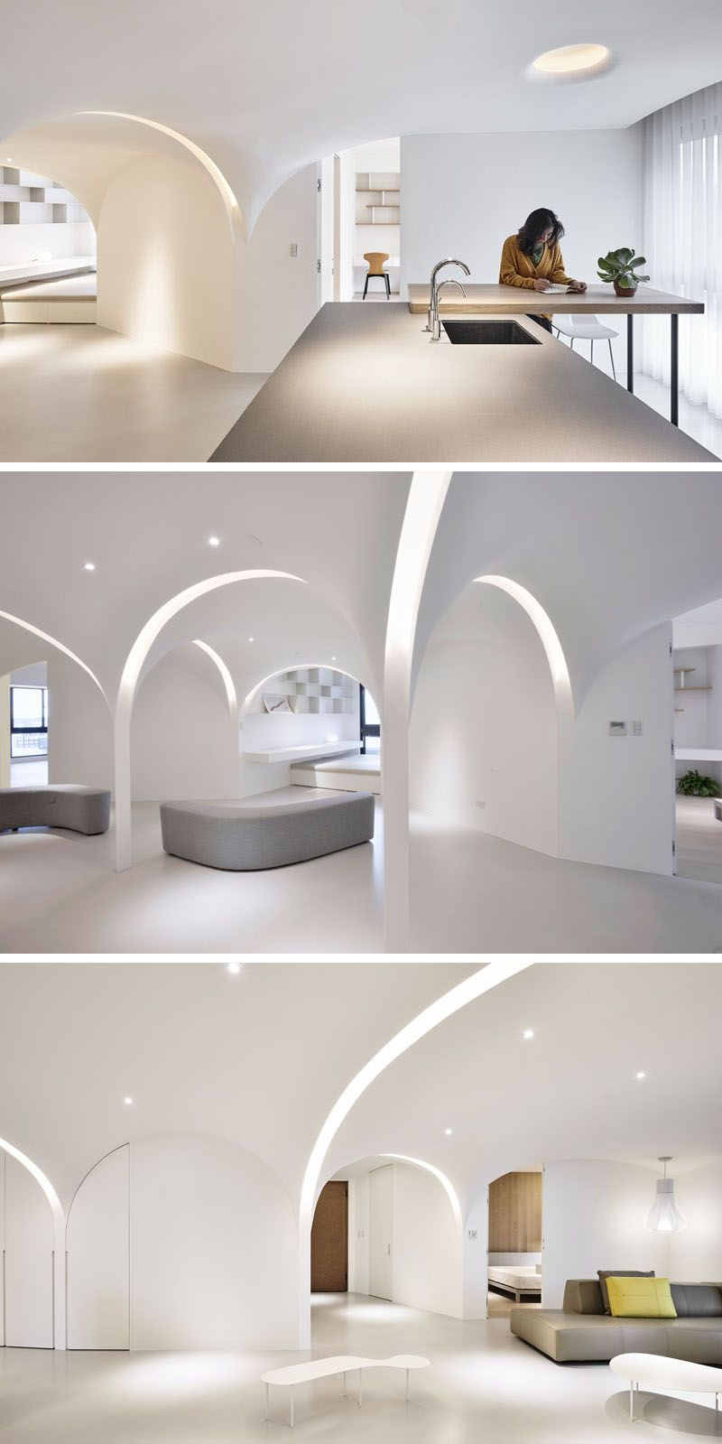 Light Filled Contemporary Living Rooms: This Minimalist Apartment Has Light-Filled Arches