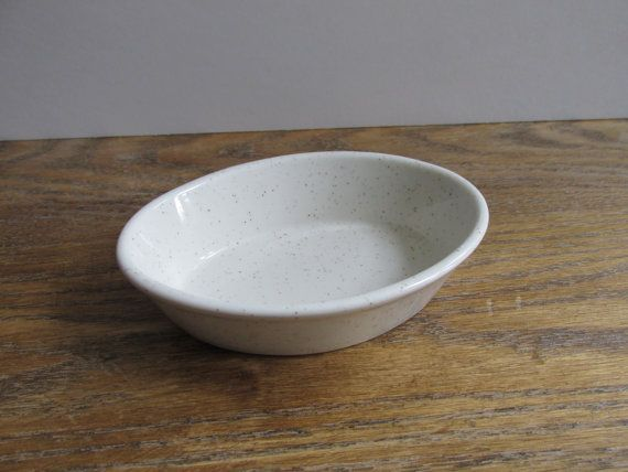 Vintage Homer Laughlin Soap Dish - ivory/cream with brown speckles, Country Sage (?)   ironstone oval dish   Made in USA