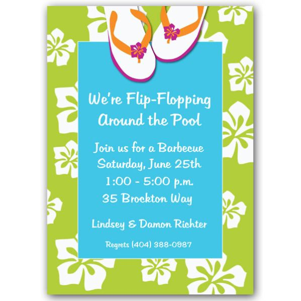 These charming pool party invitations can be used for a beach