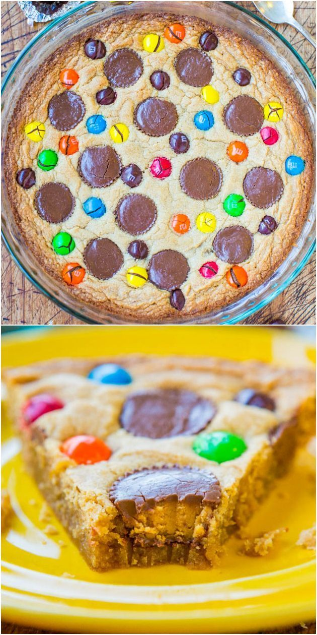 Triple Peanut Butter Cookie Pie - If you love PB, this soft  chewy pie is jam-packed with PB Cups  PB MMs! Because you can never have too much PB!