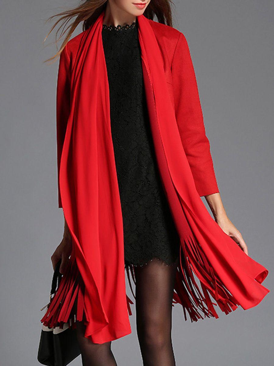 Adorewe stylewe mesappas red fringed casual plain coat adorewe