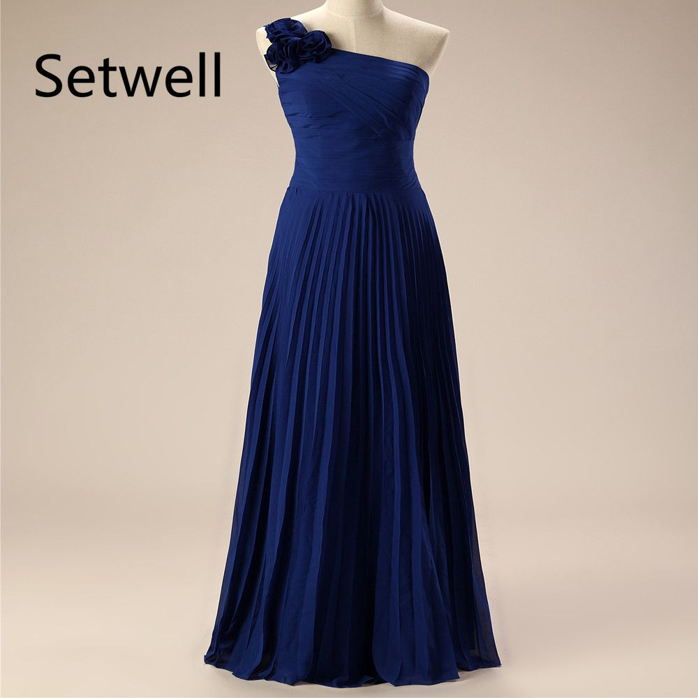 Click to buy ucuc setwell navy blue evening dresses one shoulder