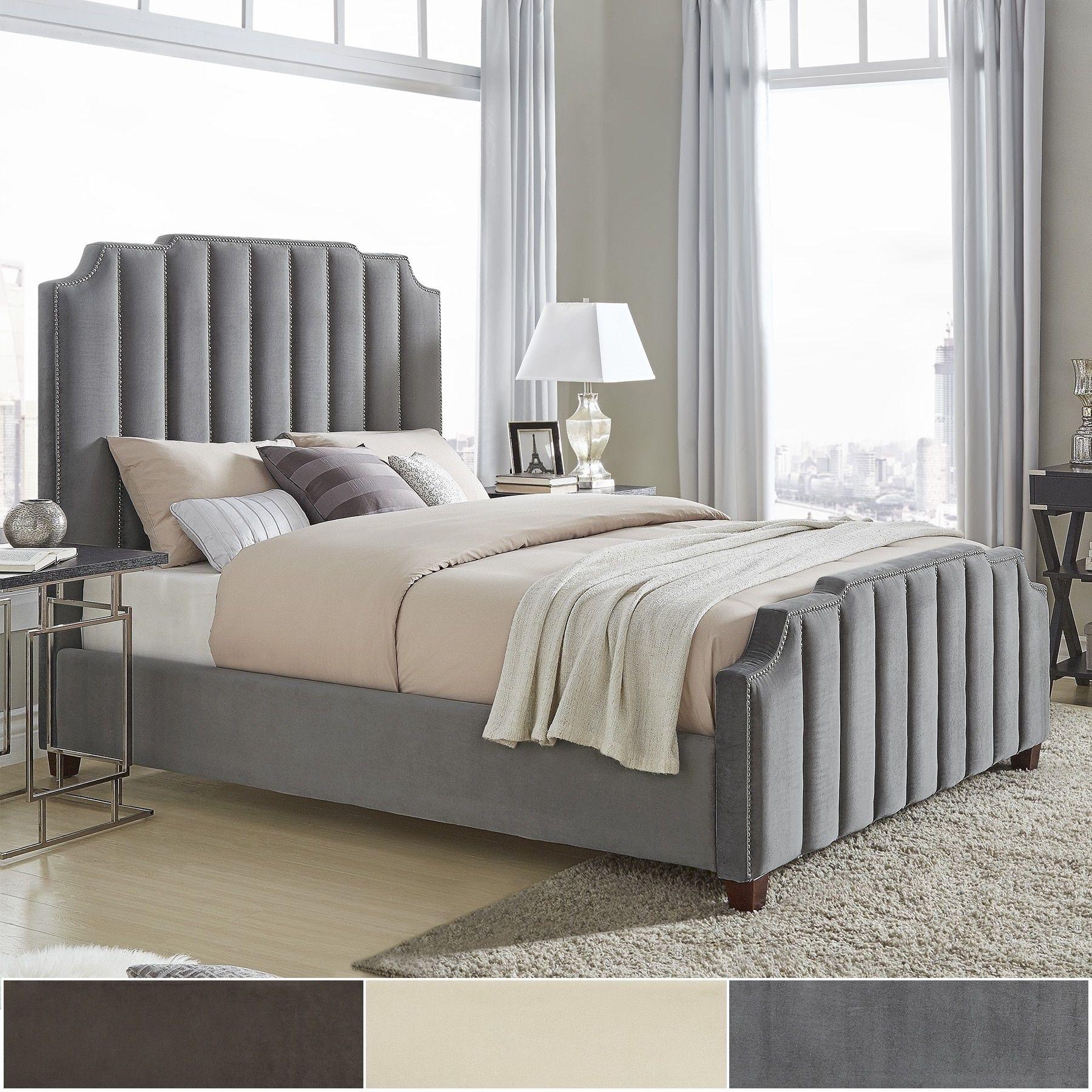 Best Chareau Velvet Upholstered Nailhead Bed By Inspire Q Bold 640 x 480