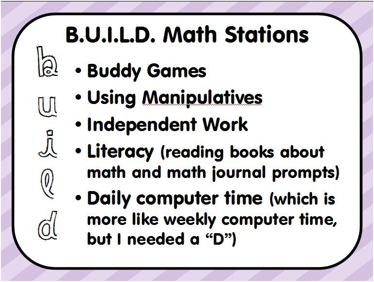 B U I L D Math Stations I Like This So I Can Stay