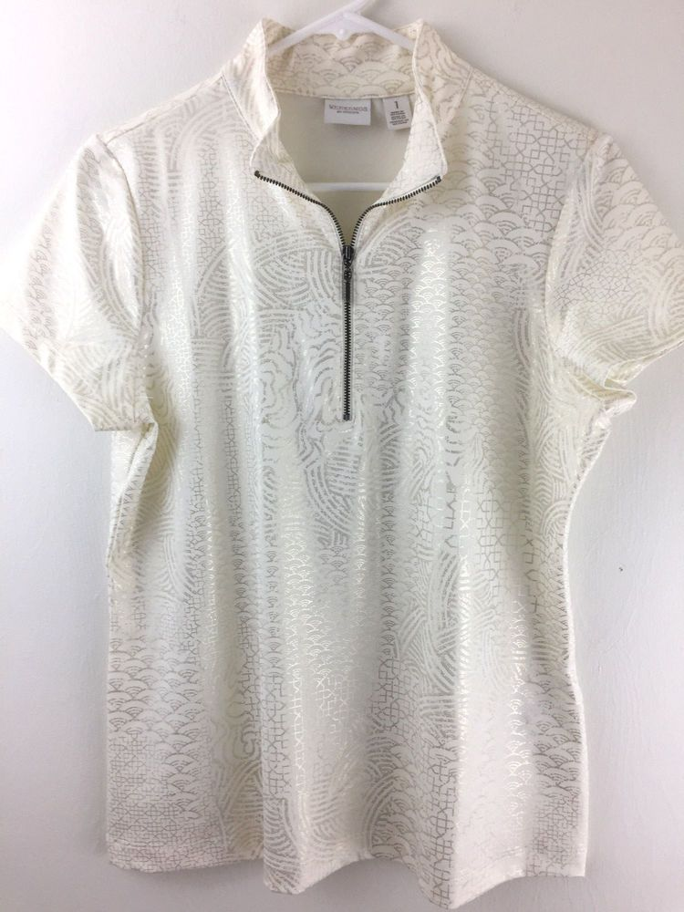 d8b57311286043 Weekends by Chicos 1 Top 1 2 Zip Henley Shimmer Rainbow Print Stretch Blouse  S M  Chicos  Blouse  Casual
