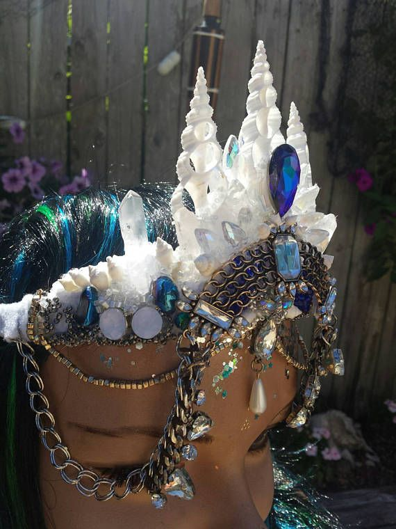 Sale Item Now 40 Off Siren Mermaid Seashell Crown Blue Dreamer Rave Or Festival Blue Swarovski Crystal And Quar Seashell Crown Crystal Crown Mermaid Crown