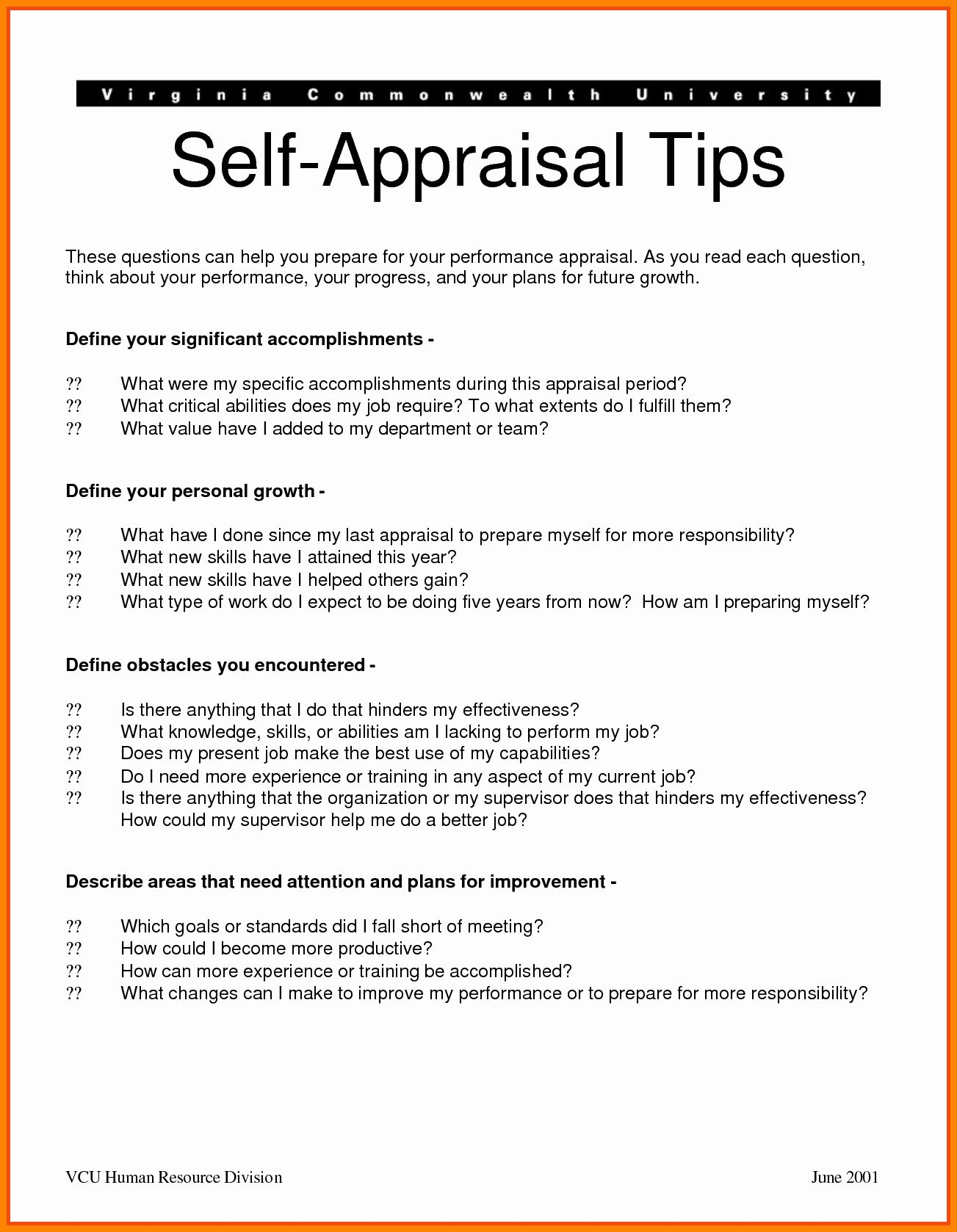 Self Performance Review Template Inspirational Self Performance Appraisal Examples Performance Reviews Performance Appraisal Self Evaluation Employee