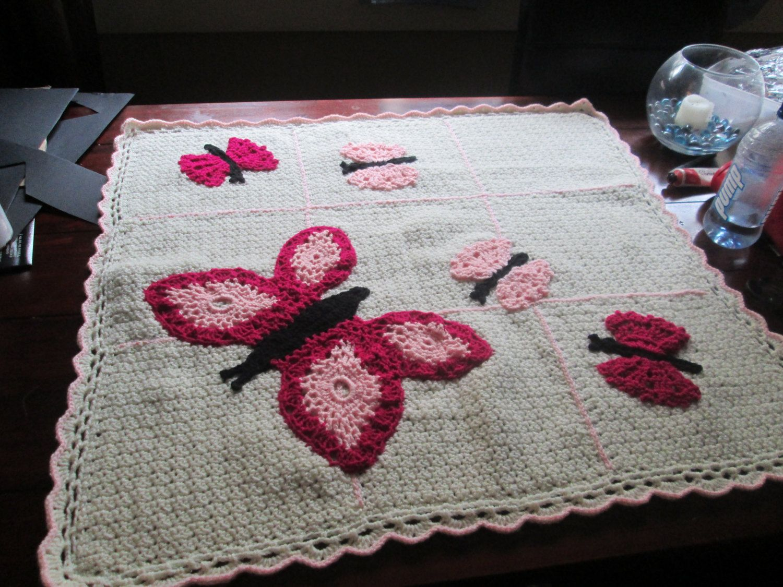 Butterfly crocheted baby blanket. | Baby blanket crochet ...