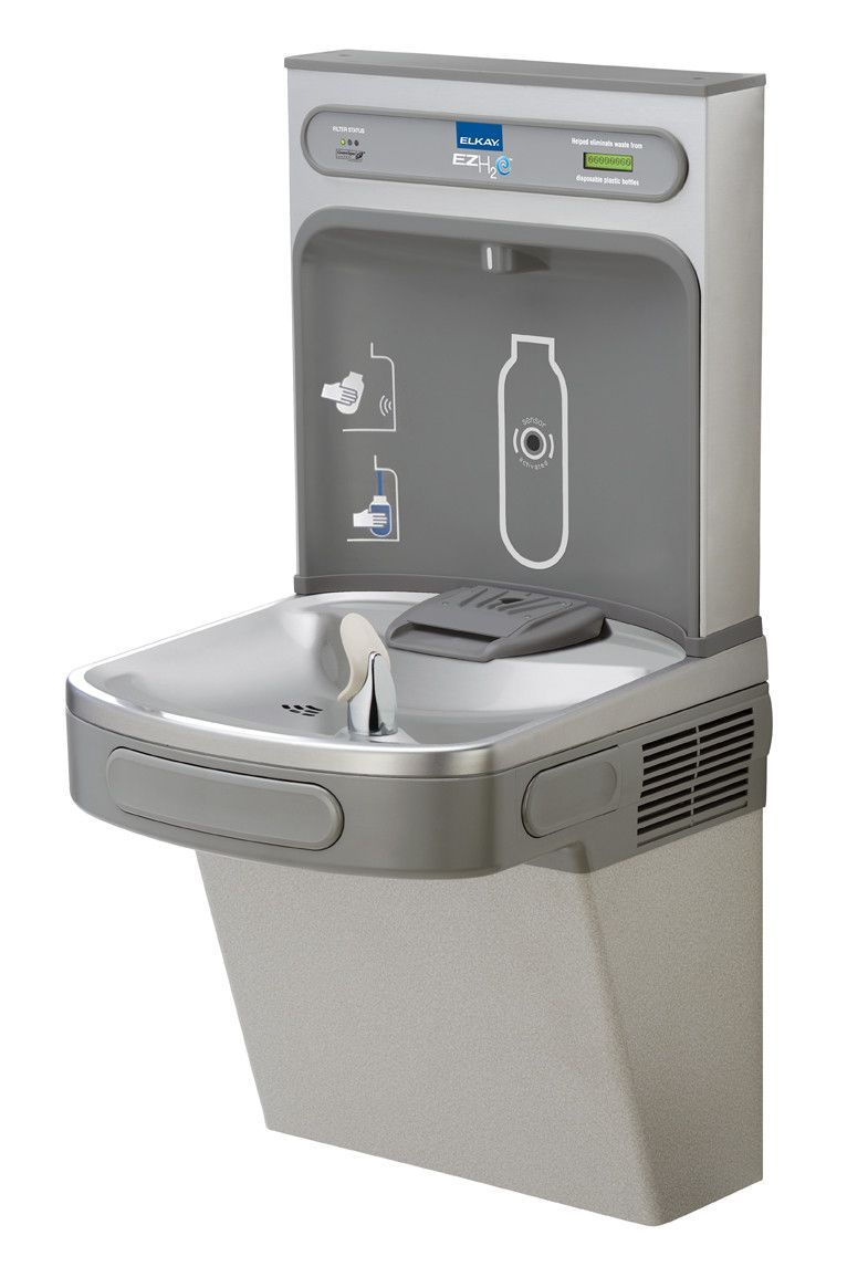 Elkay Ezh2o Bottle Filling Station With Single Ada Cooler Filtered 8 Gph Light Gray Elkay Drinking Fountain Filling Station
