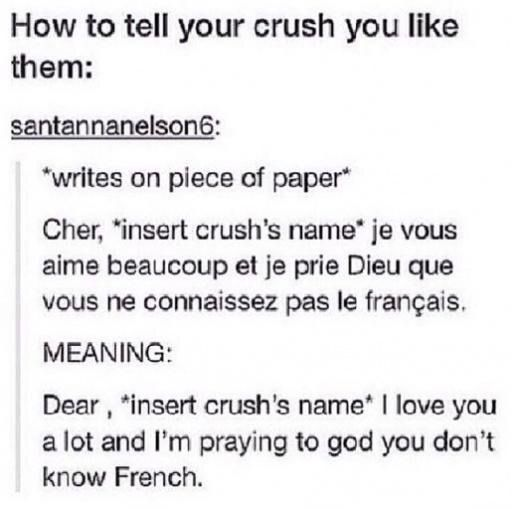 My crush actually knows French soooooo     >> I did this