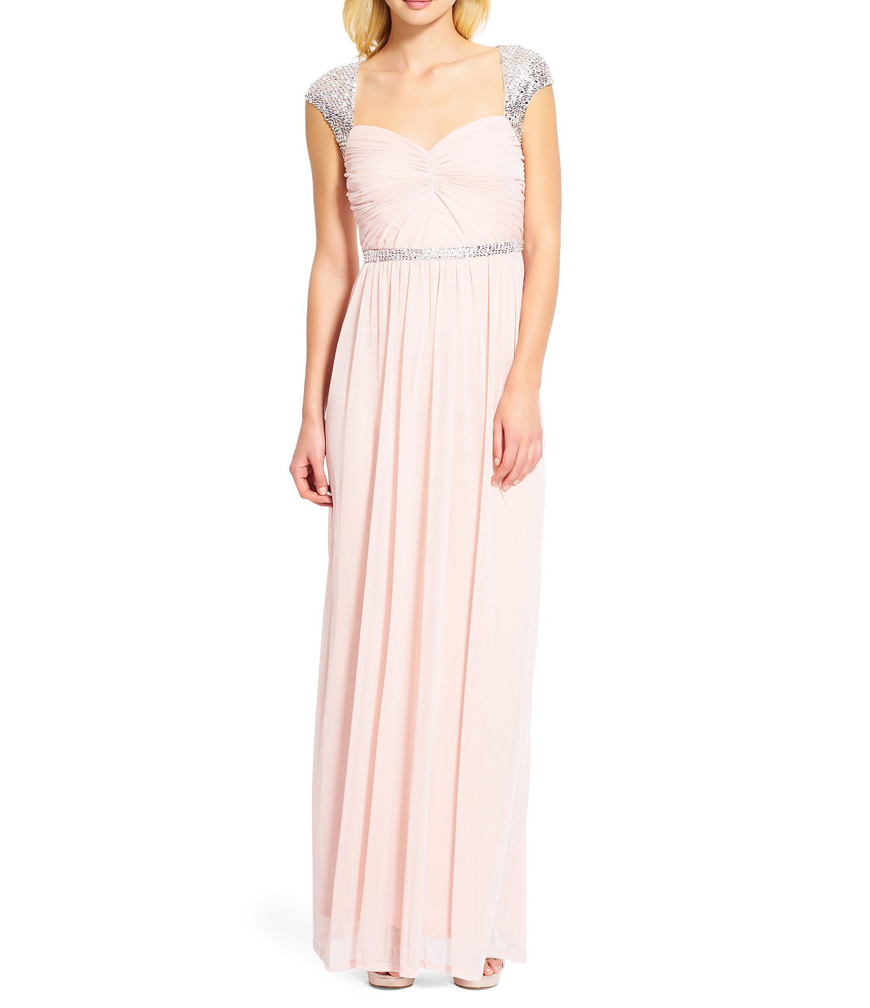 Adrianna papell sequined capsleeve gown sleeve adrianna papell