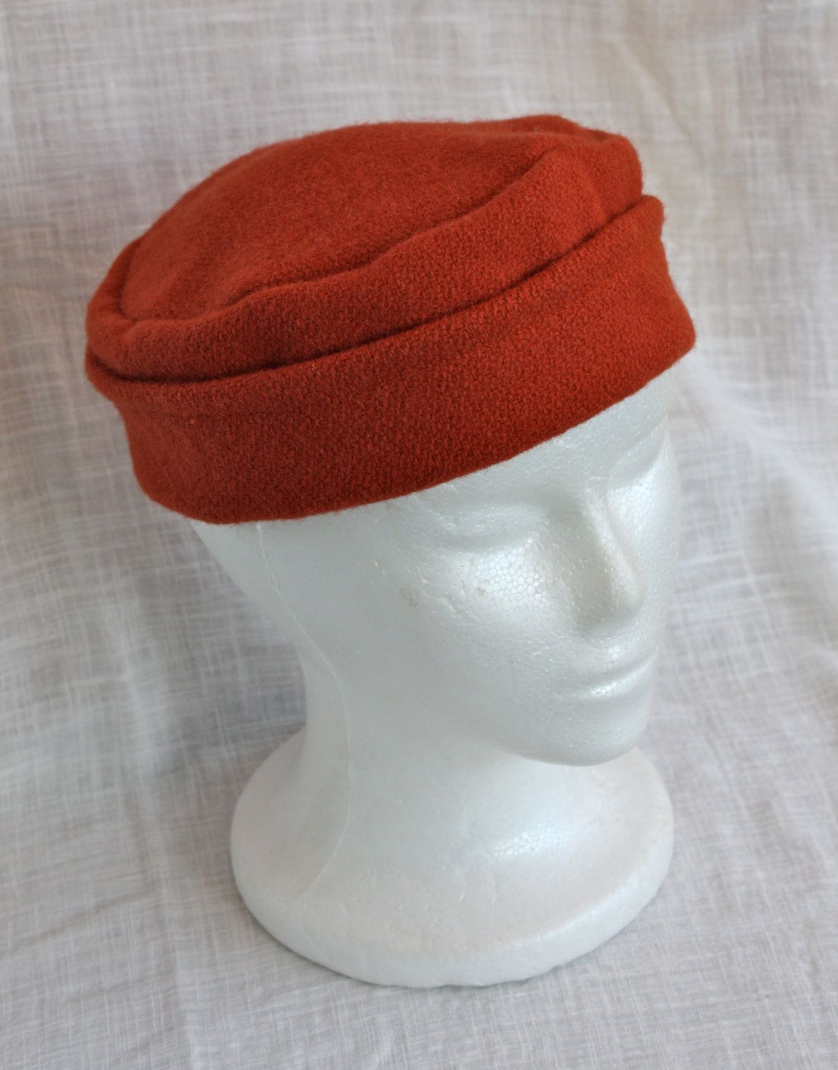 663fd01e1 Hand Sewn Orange Medieval Round Wool Hat | Medieval Hats and ...