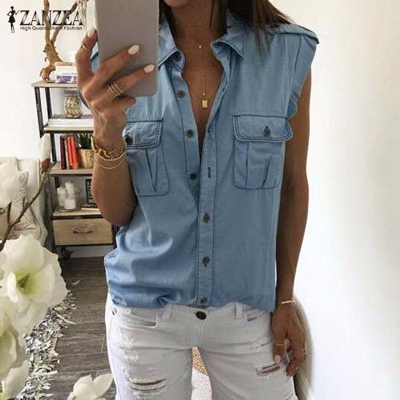 2016 Donne di Estate di Modo Dell'annata Bottoni Tasche Camicette Senza Maniche Sexy Jeans Blu Denim Camicie Casual Femminile Blusas Top