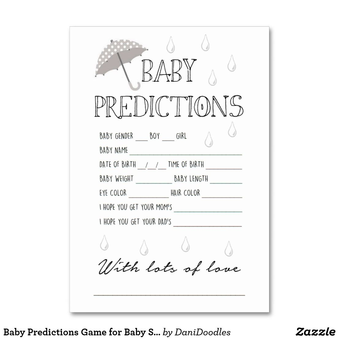 Baby Predictions Game For Baby Shower Table Number Zazzle Com Baby Shower Prediction Cards Virtual Baby Shower Baby Prediction