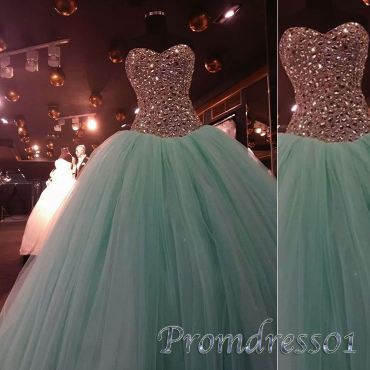Princess mint green tulle strapless long prom dressbeaded puffy
