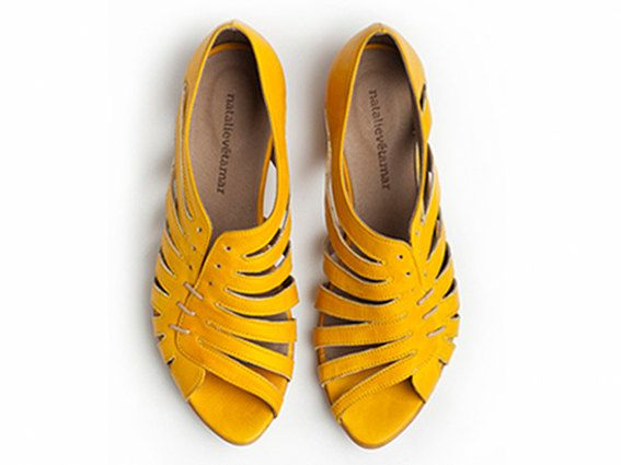 Gilly yellow flat sandals, handmade leather sandal