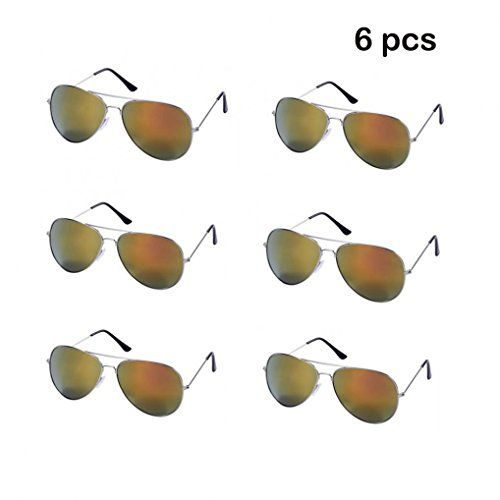 ca2b0ad88fb WODISON Wholesale Vintage Reflective Mirror Lens Metal Frame Aviator Party  Sunglasses Bulk Lot Glasses 6 Pack