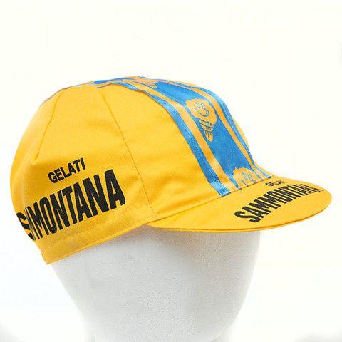 Road Bike Cap Gelati Sammontana Vintage Cap Single-Speed Bicycle Fixie Hat Yellow-Blue