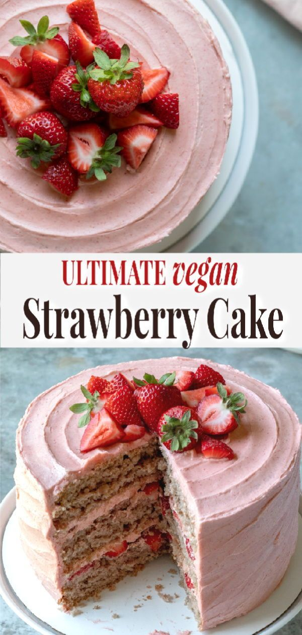 Vegan Strawberry Cake #freezedriedstrawberries