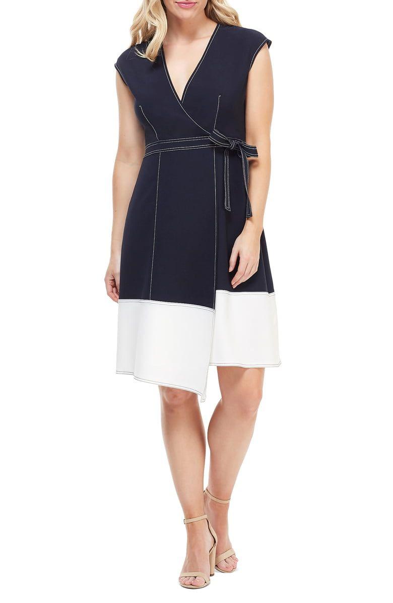 Maggy London Colorblock Faux Wrap Dress Regular Petite Nordstrom Wrap Dress Fashion Clothes Women Maggy London [ 1196 x 780 Pixel ]