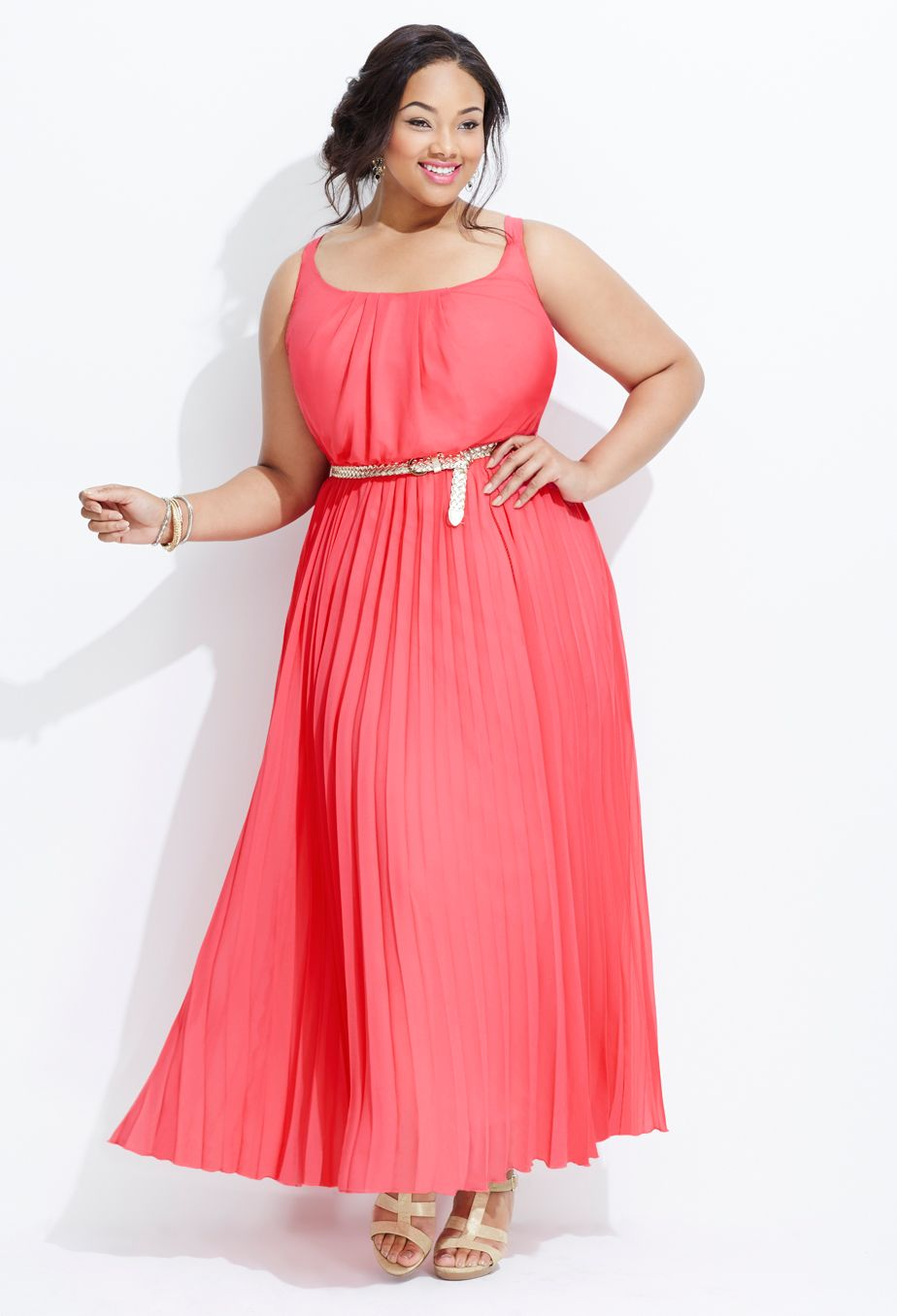 Coral lengths dress oh so pretty style pinterest gold belts