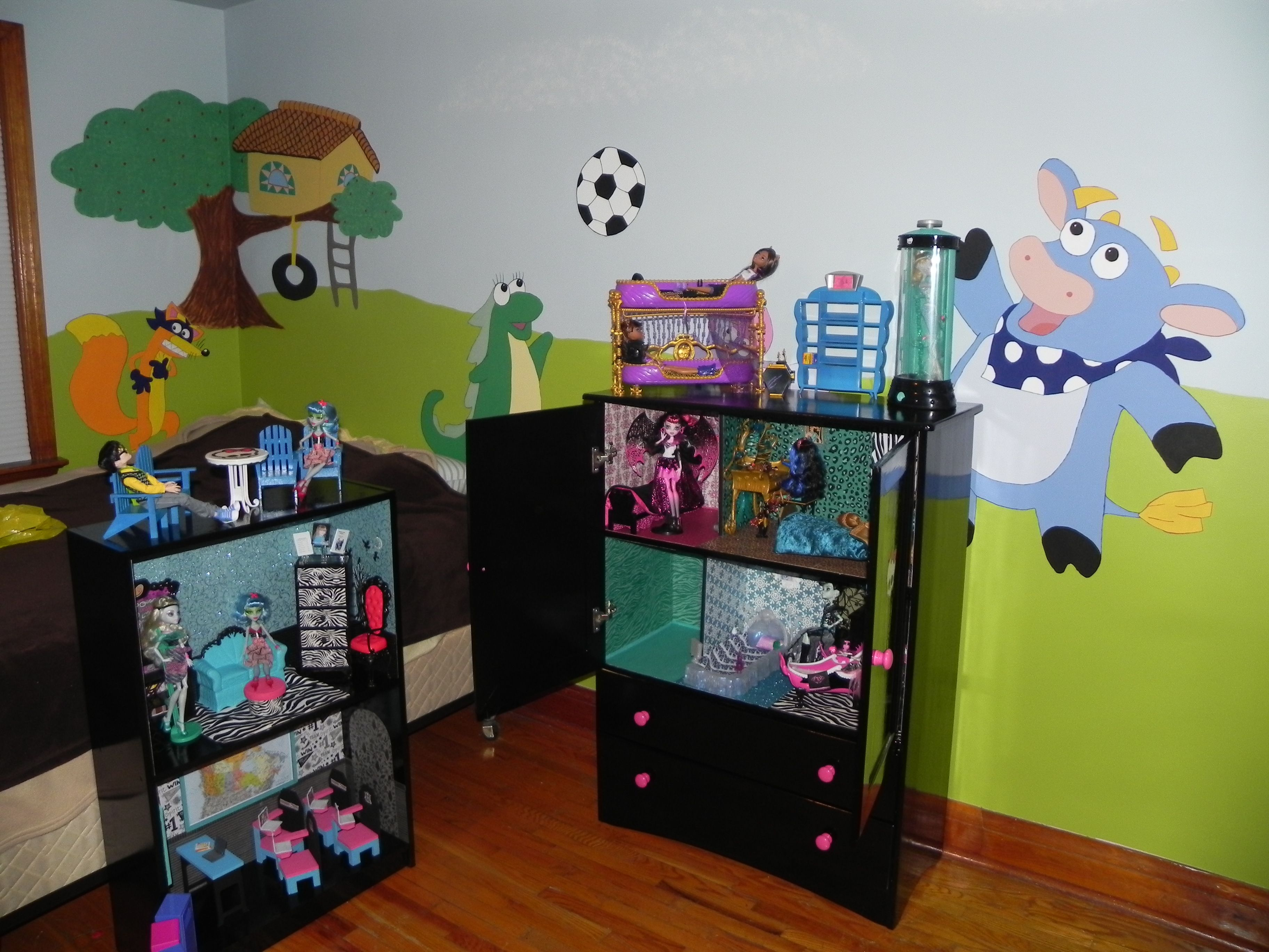 My husband and I created this monster high house and school for