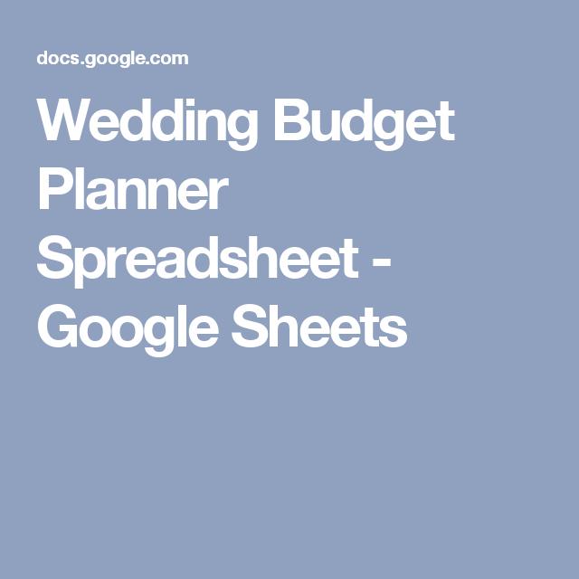 Wedding Budget Planner Spreadsheet Google Sheets Wedding