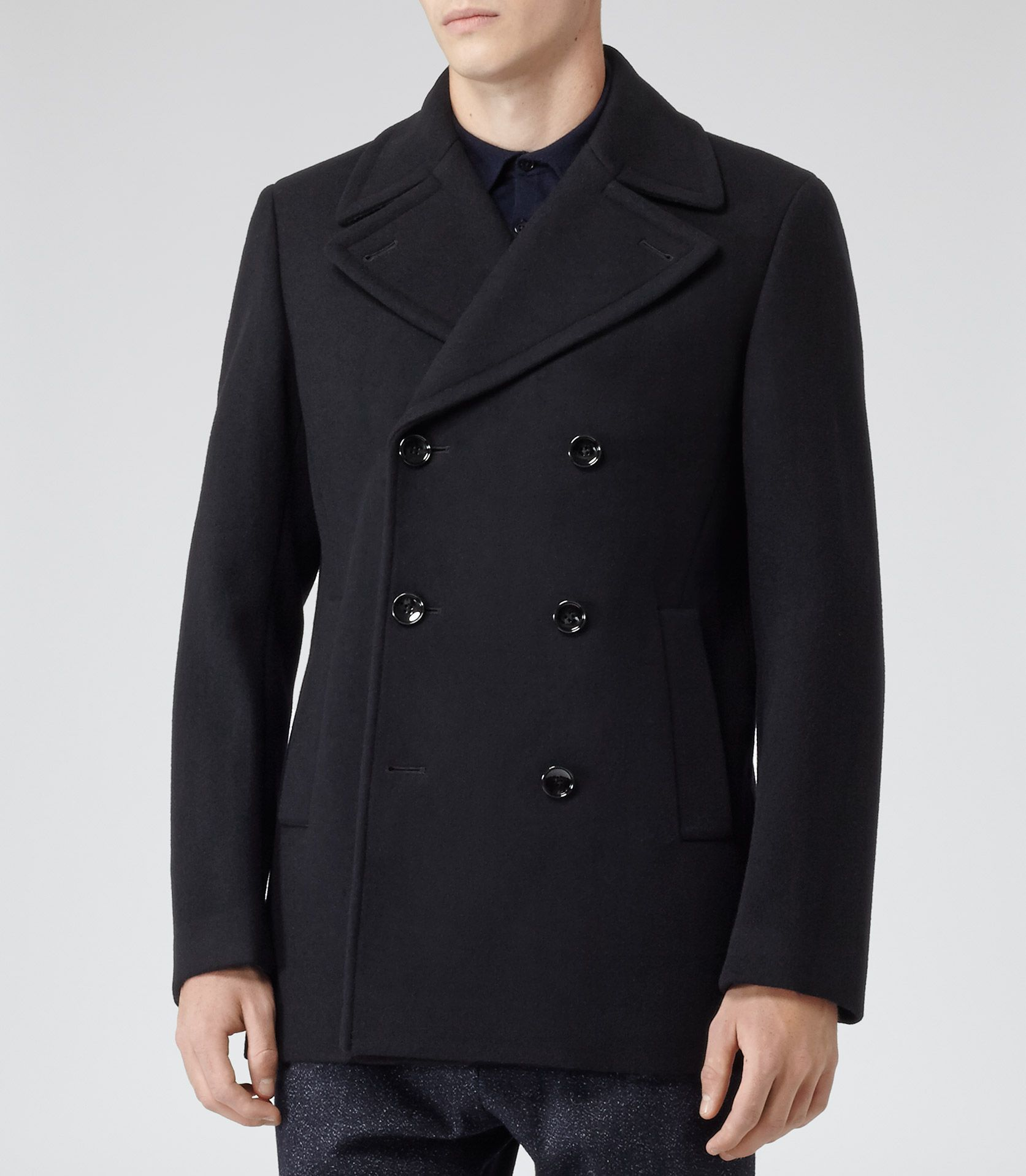 Mens Navy Wool-rich Peacoat - Reiss Roman