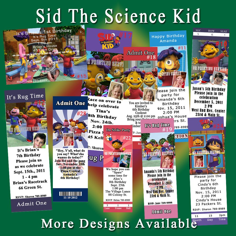 Sid The Science Kid Birthday Invitations, Thank You Cards, Address ...